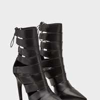 Versace Strap Slashed Leather Ankle Boots for Women | US Online Store