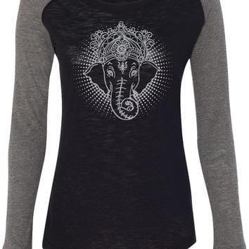 Womens Yoga T-shirt Iconic Ganesha Preppy Patch Elbow Tee