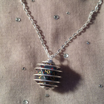 Wire Wrapped 20 Sided Dice Necklace