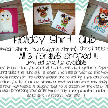 Holiday Shirt Club- Halloween applique shirt- Thanksgiving- Christmas shirt