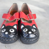 Tredair Leather Cat Shoes, Cat Lovers shoes, Tredair Leather Shoes, Red Kitty Cat Leather Shoes , Made in England, Size 9