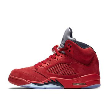 Nike Air Jordan 5 red Suede AJ5 Breathable Basketball Shoes Sports Sneakers