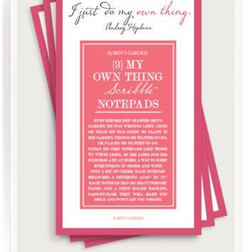 I Just Do My Own Thing Scribble Notepad Set Of 3