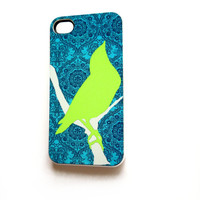 iPhone 4 iPhone 4S Case  iPhone Accessory Case Neon Green Bird Ships from USA