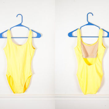 1980s One Piece Yellow Swimsuit / Hi Cut Bodysuit / High Cut Shiny Ribbed Tank Suit / Retro Plunge Back 80s Swimsuit / 80s Catalina Swimsuit