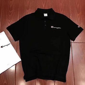 Champion summer new embroidered small POIO shirt business T-shirt F0638-1 black