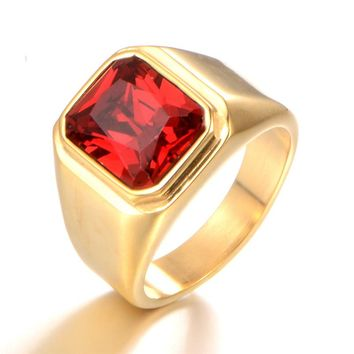 Gift 3 Color Red Green Square Stone Titanium Ring for Man 316L Stainless Steel Unique Fashion Male  Ring  VR0116
