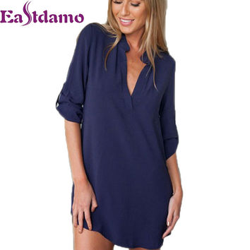 2016 Womens Chiffon Sexy V Neck T-Shirt Nightgowns Plus Size Long Sleeve Slik Sexy Nightie Sleepwear Dress Sexy Nightdress XL