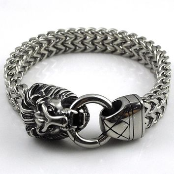 CHIMDOU Fashion Men Sliver Stainless Steel Bracelet Retro Classical Lion Head Jewelry 2016 New