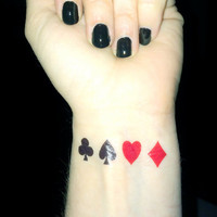 Playing Card Tattoo - Poker - Queen of Hearts, Club, Diamond, Spade - Playing Cards