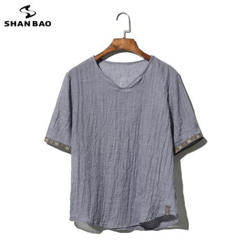 SHAO BAO brand clothing cotton and linen short-sleeved T-shirt men's 2017 summer thin paragraph loose t-shirt large size M-5XL