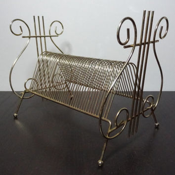 Vintage Gold Tone Metal Harp or Lyre Shaped Wire Rack File Organizer/Record Holder with Feet
