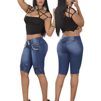 Bum Lifting Dark Capri Jeans