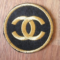 Chanel Round Gold Iron On patch, Applique, Sewing patch