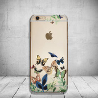 Watercolor iPhone 6s Case Clear Butterfly iPhone 6 Case Transparent iPhone 6 Plus Case iPhone 5/5s/ SE Case Soft Silicone iPhone Case No: 77