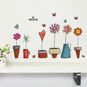 flowerpot butterfly wall stickers house decoration 947. diy print mural art plant home decals kids gift living bed playroom 4.0