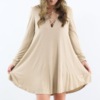 Pasadena Stone Solid Long Sleeve Dress
