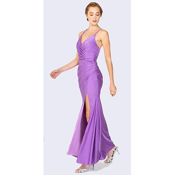 Victorian Lilac Fit and Flare Evening Gown with Slit