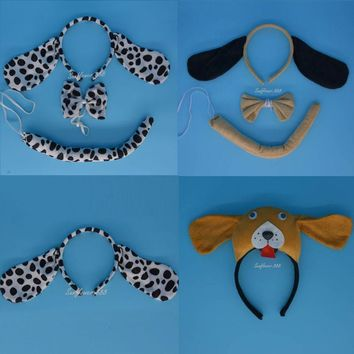 Cute Animal Dot Dog Ear Headband Bow Tie Tail For Kids Halloween Carnivals Party Fancy Dress Cosplay Costume Accessories