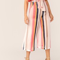 Paperbag Waist Slant Pocket Striped Culottes Pants