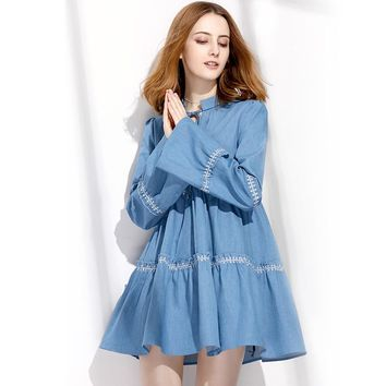 2017 Autumn Women Cute Flare Sleeve Swing Vintage Dresses Young Lady Lace-up Ruffles Jeans Dress Mori Girl Sweet Denim Dress