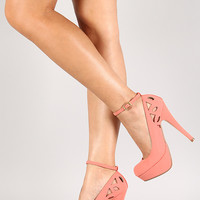 Bamboo Ericka-38 Nubuck Cut Out Ankle Strap Platform Pump
