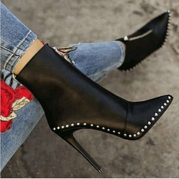 Leather High Heel Rivet Zipper Calf Boots