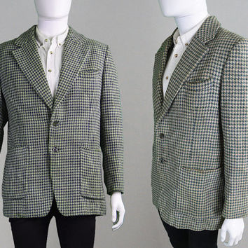 Vintage 60s HARRIS TWEED Blazer Houndstooth Jacket Wool Blazer Sport Coat Tweed Jacket Mod Jacket Scottish Wool Preppy Blazer Suit Jacket