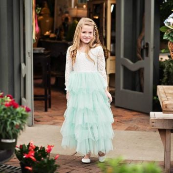 Blanche Gown 3/4 Sleeve White Scalloped Lace Mint Tier Tulle Tutu Dress - Toddler & Girls