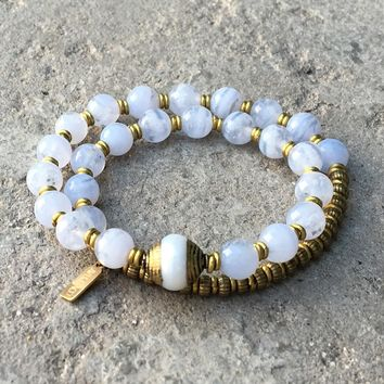 Communication' Blue Lace Agate and Tibetan Pearl 27 Bead Wrist Mala Yoga Bracelet