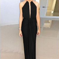 Black Halter Jersey Evening Dress with Ruffled Trim