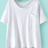 White Short Sleeve Loose Fitting T-Shirt