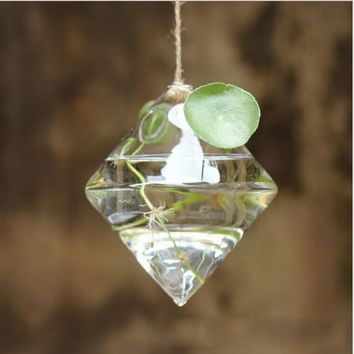 Pretty Transparent Rhombus Crystal Glass Plant Vase Terrarium Hydroponics Hanging Wedding Party Home