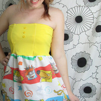 Vintage Rugrats Nickelodeon Chuckie Tommy Pickles 90s Cartoon Party Birthday Babydoll Strapless Yellow Button Dress