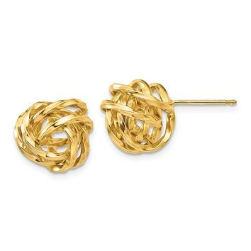 12mm Twisted Love Knot Earrings in 14k Yellow Gold