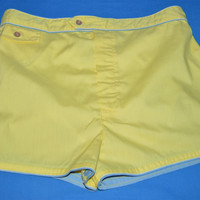 70s Yellow Bathing Suit Shorts Extra Large Size 40