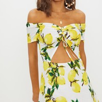 Lemon Ruched Cut Out Bardot Shift Dress
