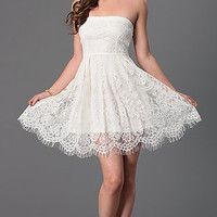 Dresses, Formal, Prom Dresses, Evening Wear: Short Strapless Lace Dress