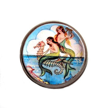 Mermaid Pill Box, Case, Gift Tin, Coin Holder, Harping Mermaids