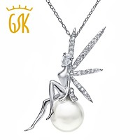 GemStoneKing 925 Sterling Silver Fairy with Angel Wings Sit on Shell Pearl Pendant Necklace For Women