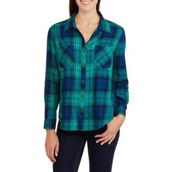 Faded Glory Women's Plaid Shirt with Front Pockets - Walmart.com