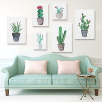 "New Fashion Fresh Green cactus Cactus Canvas Painting Print Picture Living Room Home Wall Decor Unframe 15.75""X11.81"""