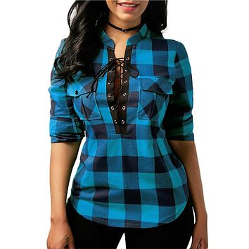 Women Plaid Shirts Spring Long Sleeve Blouses Shirt Office Lady Cotton Lace up Shirt Tunic Casual Tops