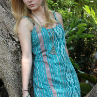 Aqua Womens Summer Dress in Handwoven Ikat
