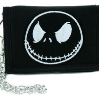 Negative Jack Skellington Tri-fold Wallet w/ Chain Nightmare Before Christmas