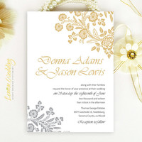 Floral Wedding Invitation | Gold and gray elegant rose wedding invite printed on luxury white pearlescent paper