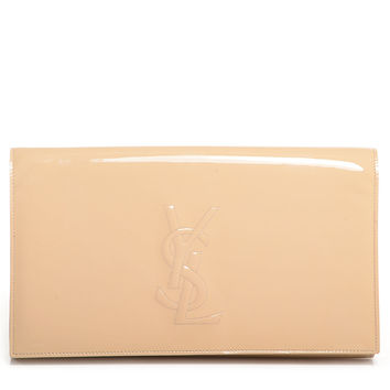 YVES SAINT LAURENT Patent Belle de Jour Large Clutch Nude