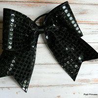 Black Sequin Cheer bows Girls Hair Bows Cheerleading Bows Black Glitz Cheer Hair bows Cheerleaders hair bow