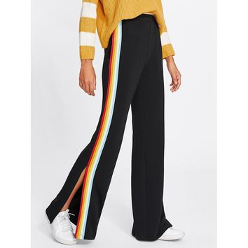 Black Rainbow Tape Side Split Pants