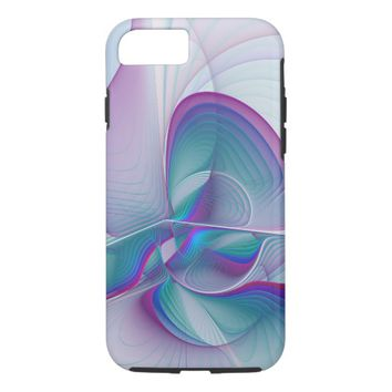 Colorful Modern Pink Blue Turquoise Fractal Art iPhone 8/7 Case